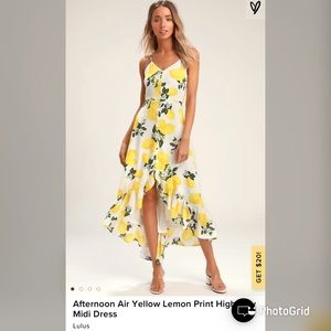 Lulus Afternoon Lemon Print HighLow Midi Dress